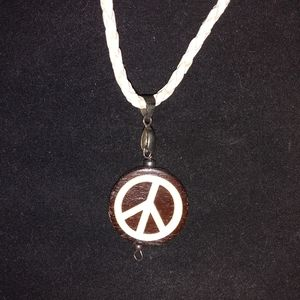 Wooden Peace Necklace Leather Chain 20 inches